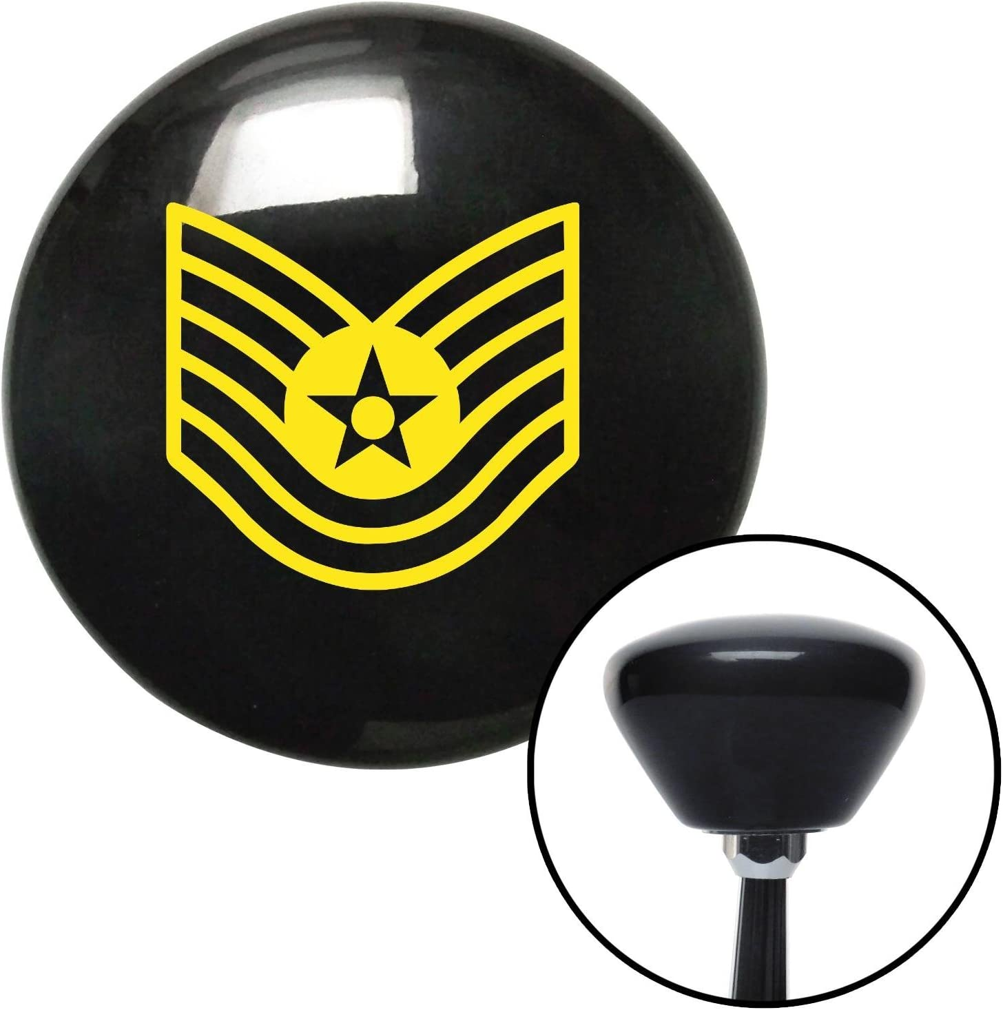 Yellow Technical Sergeant American Shifter 146430 Black Retro Shift Knob with M16 x 1.5 Insert