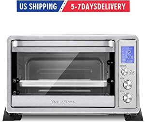 Toaster Oven, Vestaware Convection Oven Toaster Countertop with Toast Pizza Rotisserie Bake Broil Setting, 10 Cooking Functions, 6 Accessories Parts, LED Display, 27QT 1500W
