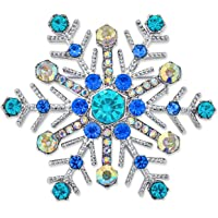 Large Multi Ice Blue Frozen Winter Snowflake Brooch Pin for Women Crystal Holiday Party Frozen Winter Rhodium Plated…