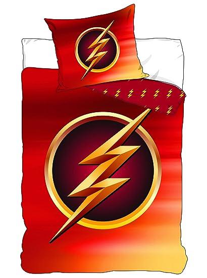 196150f88db Juego de cama Flash Logo DC Comics - Funda de edredón 140 x 200 cm funda