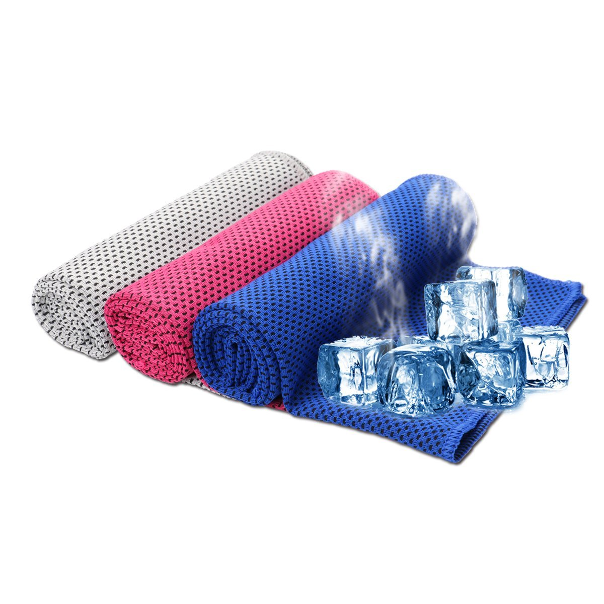 SHISHUO Cooling Towel - 3 Pack Ice Cold Instant Relief Quick Dry Sweat Towel for Sports 85 x 30 cm (Green, Orange, Blue)