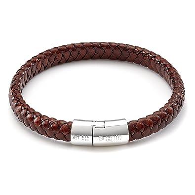 Tateossian Cobra Mens Braided Leather Bracelet, Black