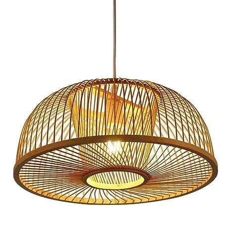 Lámpara Colgante Redonda E27 Hecha a Mano de Bambú Lámpara de ...