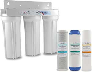 """Whole House Water Filter System 2.5"""" x 10"""" White 3 Stage Filtration 3/4"""" Inlet"""