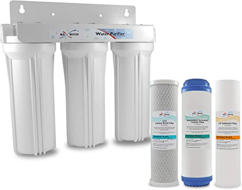 Whole House Water Filter System 2.5 x 10 White 3 Stage Filtration 3 4 Inlet