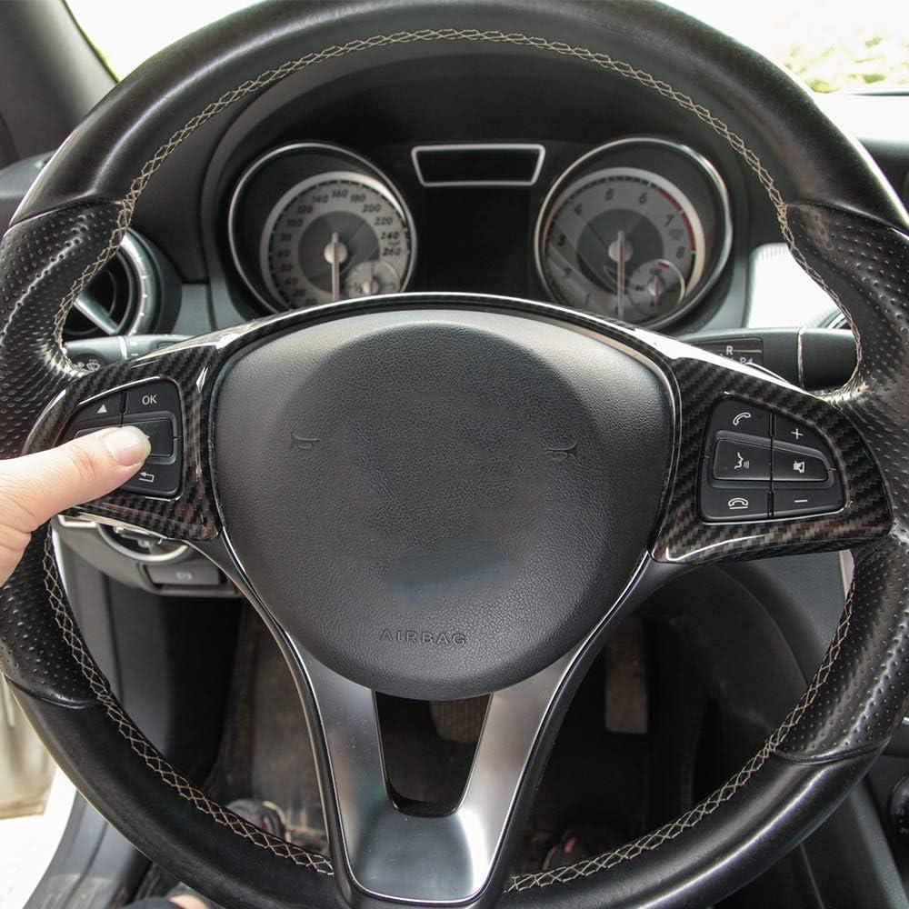 AUTO Pro for Mercedes Benz C Class W205 GLC X253 E Class W213 C213 ABS Plastic Chrome Steering Wheel Decoration Frame Trim Cover Carbon Fiber