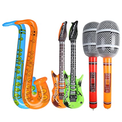 Amazon.com: Decora 6 piezas Juguete Inflable Guitarra ...