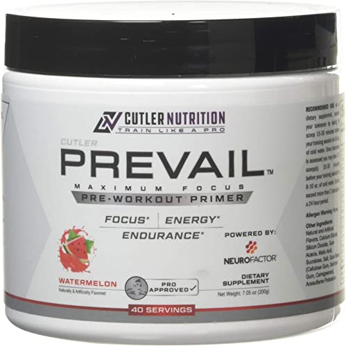 Prevail Pre Workout Powder with Nootropics Best Pre Workout for Men and Women, Cutting Edge Energy and Focus Supplement with L Citrulline, Alpha GPC, L Tyrosine, Neurofactor Watermelon, 40 Scoops
