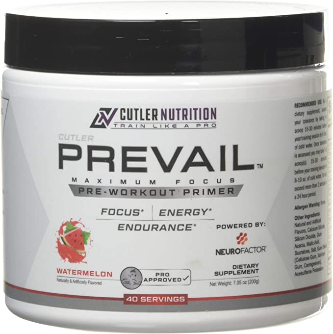 Prevail Pre Workout Powder with Nootropics: Best Pre Workout for Men and Women, Cutting Edge Energy and Focus Supplement with L Citrulline, Alpha GPC, L Tyrosine, Neurofactor | Watermelon, 40 Scoops - <strong>Jay Culter</strong>