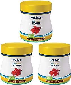 Aqueon 3 Pack Color Enhancing Betta Food Pellets, 0.95 Ounces Per Container