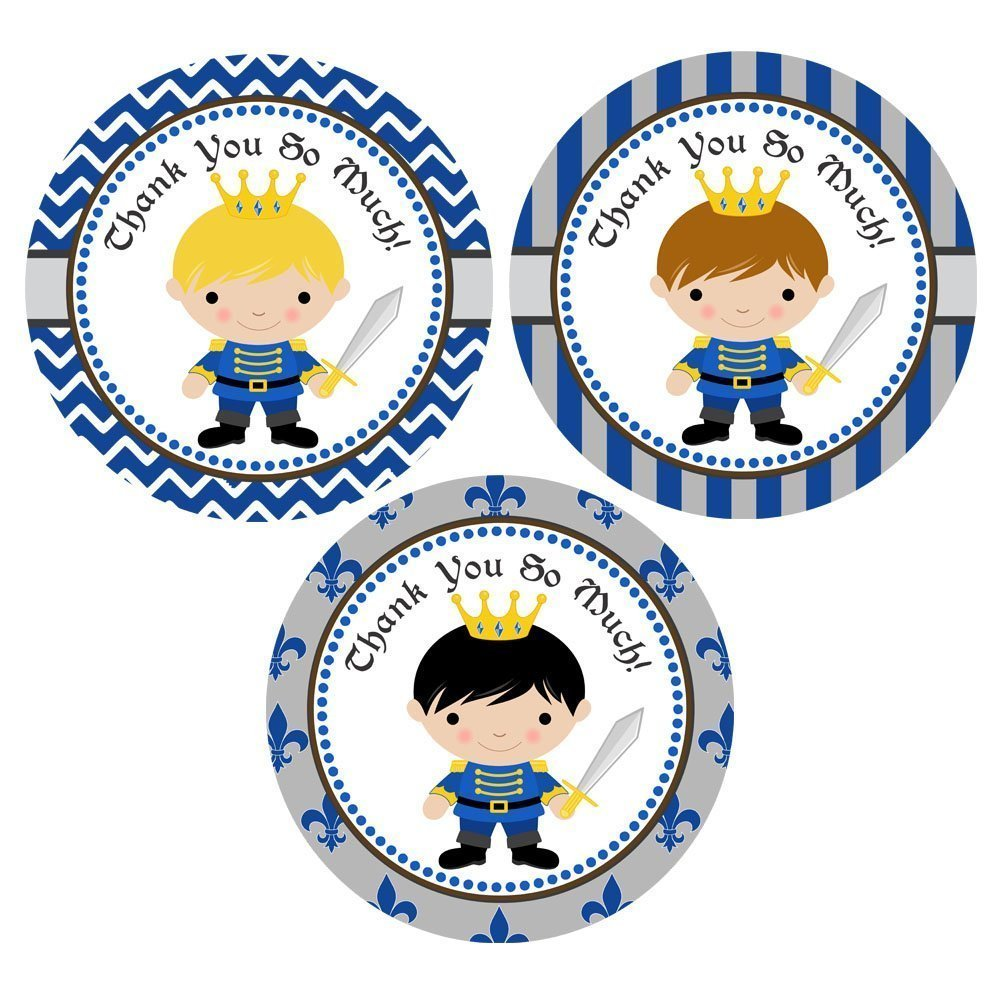 Kids Children Boy Medieval Birthday Party Favors Set of 30 Prince Thank You Sticker Labels