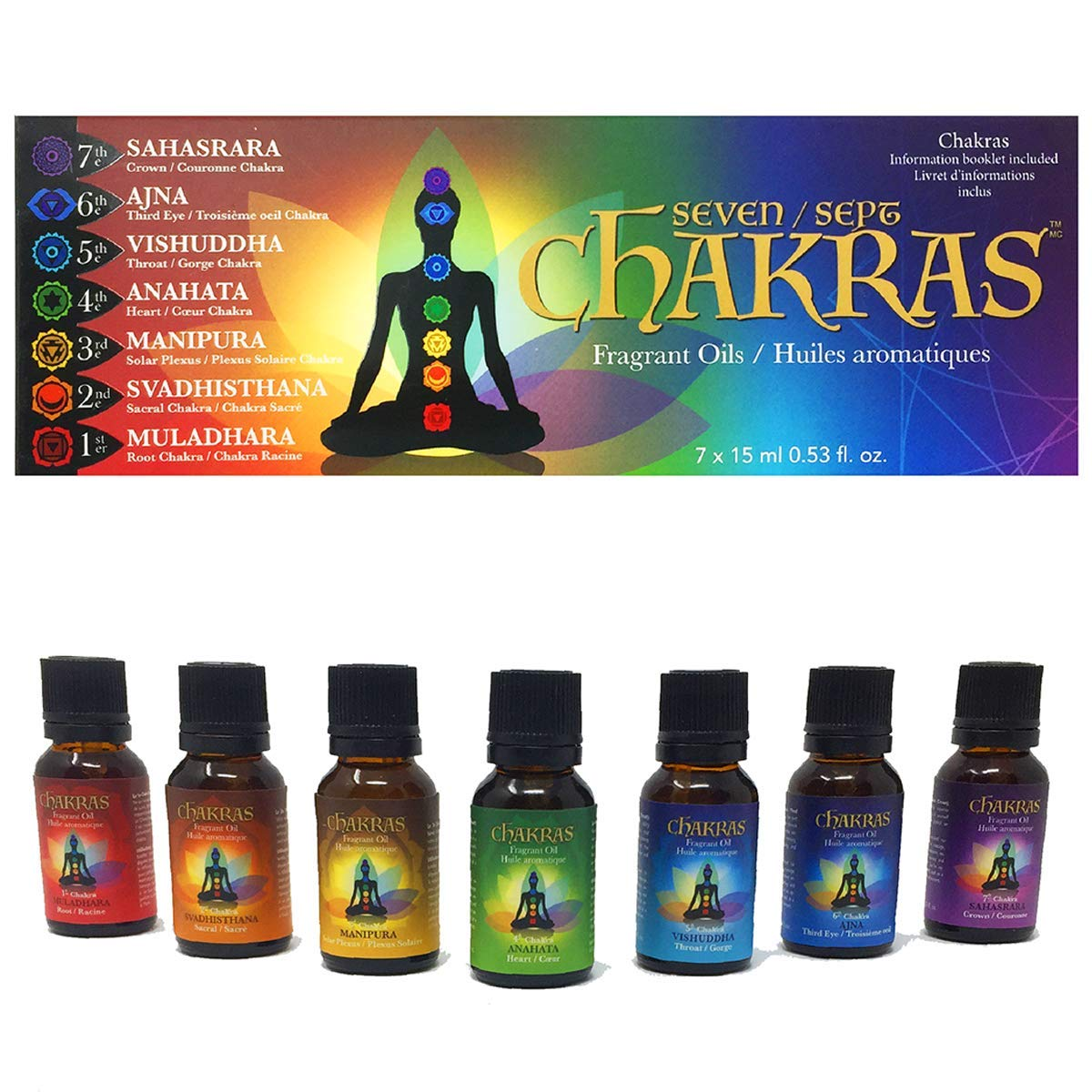 Chakras Relaxation Essential Oils Set of 7 - Concentrated Natural Oils for Diffuser, Massage, Reflection, Meditation, Environmental Scenting and Energy Work by Chakras Incense