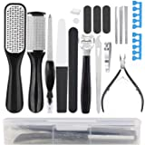 YTWQ Professional Pedicure Kit - 20 in 1 Stainless Steel Foot File Exfoliating Prevent and Callus Clean Feet Dead Skin…