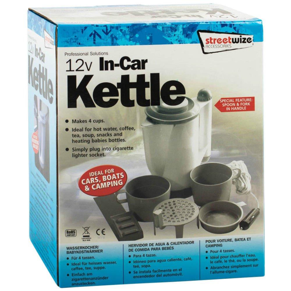 12V Portable Kettle 0.7litre Car Van Boats Camping Travel Kitchen Tea Coffee UK