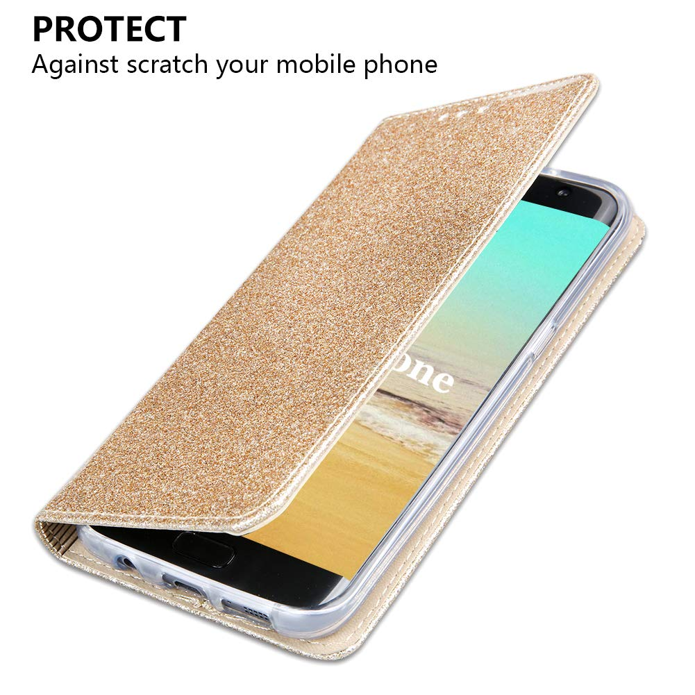 Ros/égold Galaxy S7 Edge H/ülle,OKZone Luxus Glitzer Bling Premium PU Leder Handyh/ülle Brieftasche-stil Magnetisch Folio Flip Etui Brieftasche H/ülle Schutzh/ülle Tasche Case f/ür Samsung Galaxy S7 Edge