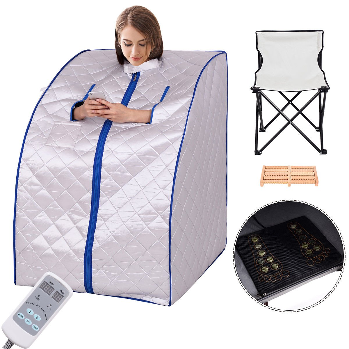 Giantex Portable Far Infrared Spa Sauna Full Body Slimming Weight Loss Negative Ion Detox Therapy In Home Personal Sauna w/ Heating Foot Pad and Folding Chair (Silver) by Giantex