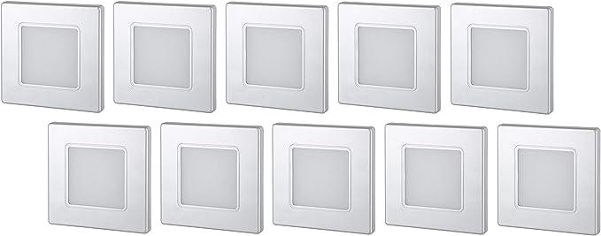 Light Design Dreesbach - Lote de 10 focos led empotrables (230 V, cuadrados, para caja de interruptores de 60 mm, transformador LED integrado, luz blanca cálida, 3000 K): Amazon.es: Iluminación