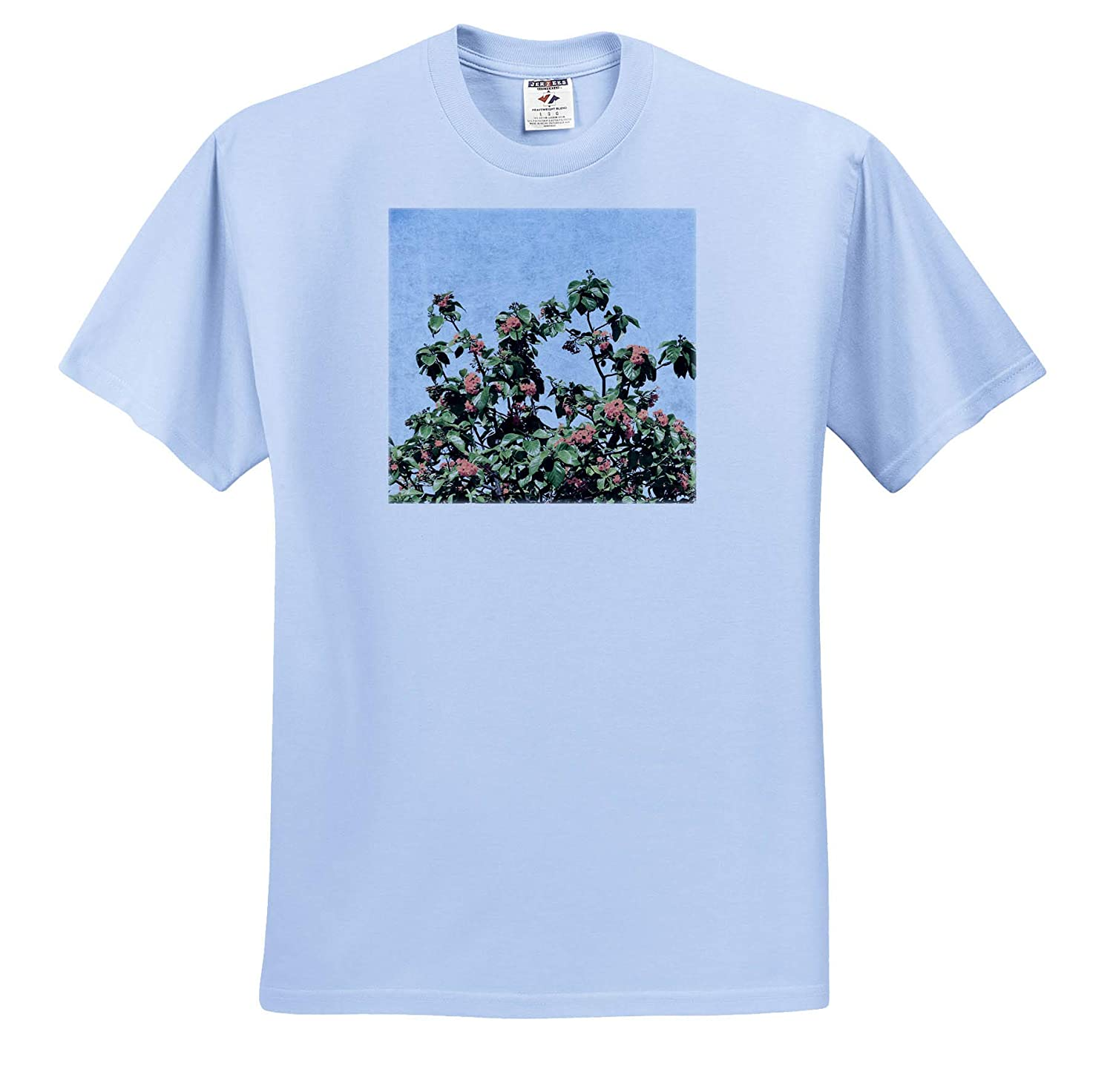 3dRose Susans Zoo Crew Floral Plant T-Shirts Faded Orange Green Flower Tree Sky Floral