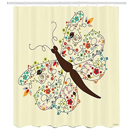 Butterfly Shower CurtainDoodle Style Spring Bug Arrangement With Blooming Flowers And Birds On Its