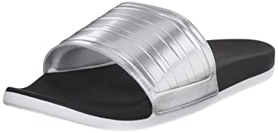 buy popular 41159 ccb9e adidas Performance Womens Adilette Supercloud Plus C Slides,BlackMetallic  SilverWhite,