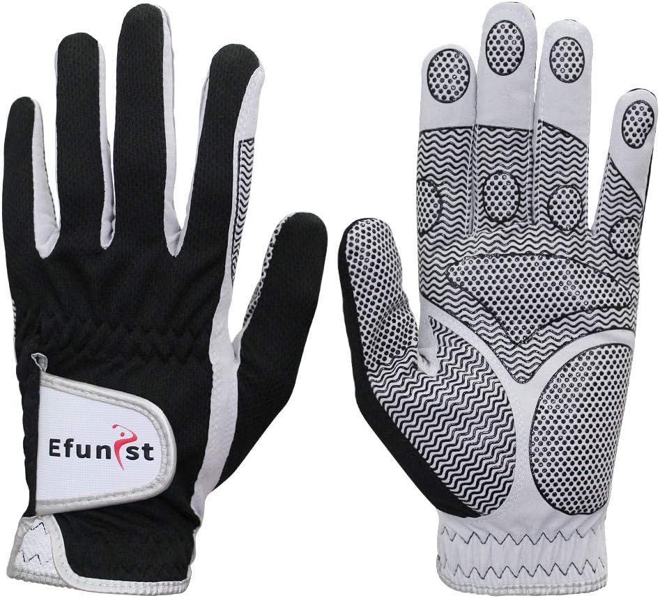Efunist Men's Golf Glove 2 Pack Black Left Hand Hot Wet Weather No Sweat Non-Slip Fit Size Small Medium Large XL XXL