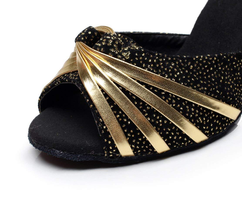 HhGold Latin Schuhe für Damen Glanz Salsa Tango Chacha Chacha Chacha Samba Modern Jazz Dance Sandalen Hohe Absätze Gold6cm-UK5.5   EU38   Our39 (Farbe   schwarz8.5cm Größe   UK2.5 EU32 Our33) 2919fd