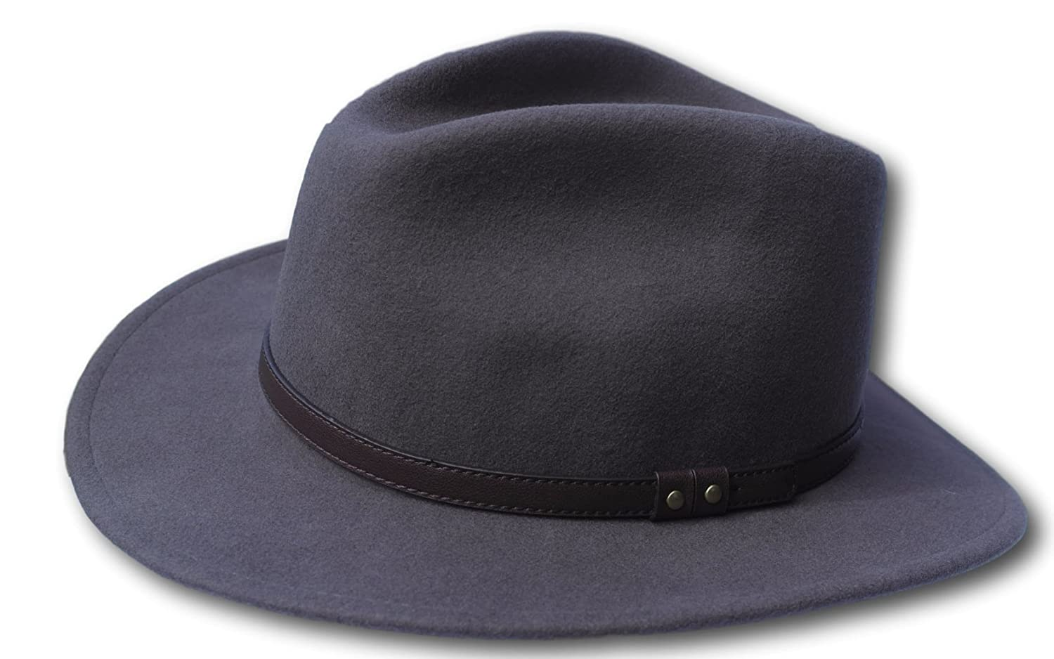 3559f3b48e2c3 Thorness Grey Wide Brim 100% Wool Felt Fedora Trilby Hat - Large at Amazon  Men s Clothing store
