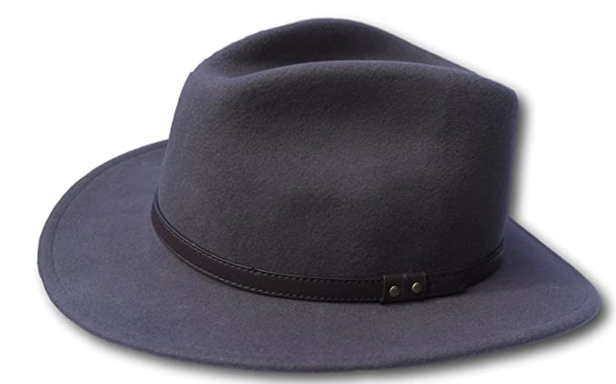 e3f411158a3bad Thorness Grey Wide Brim 100% Wool Felt Fedora Trilby Hat - Large at ...