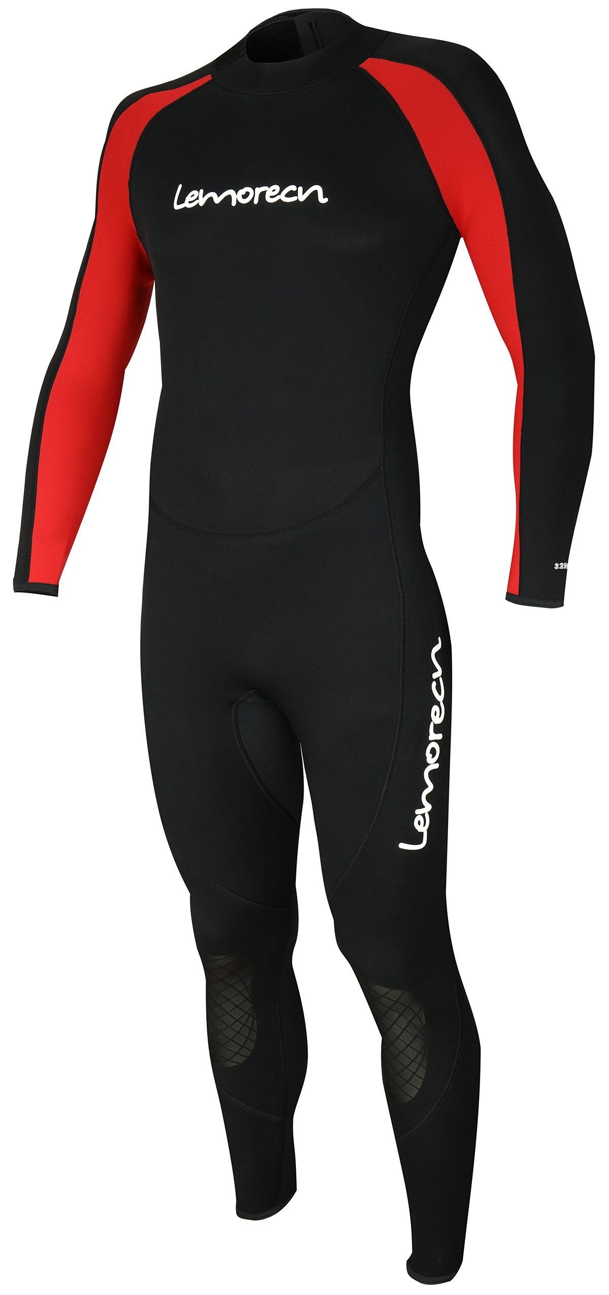 Lemorecn Mens Wetsuits Jumpsuit Neoprene 3/2mm Full Body Diving Suit (3031redS)