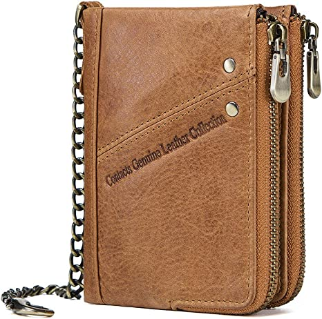 Men/'s Genuine Leather Wallet Zipper Coin Purse RFID Bifold With Antitheft Chain