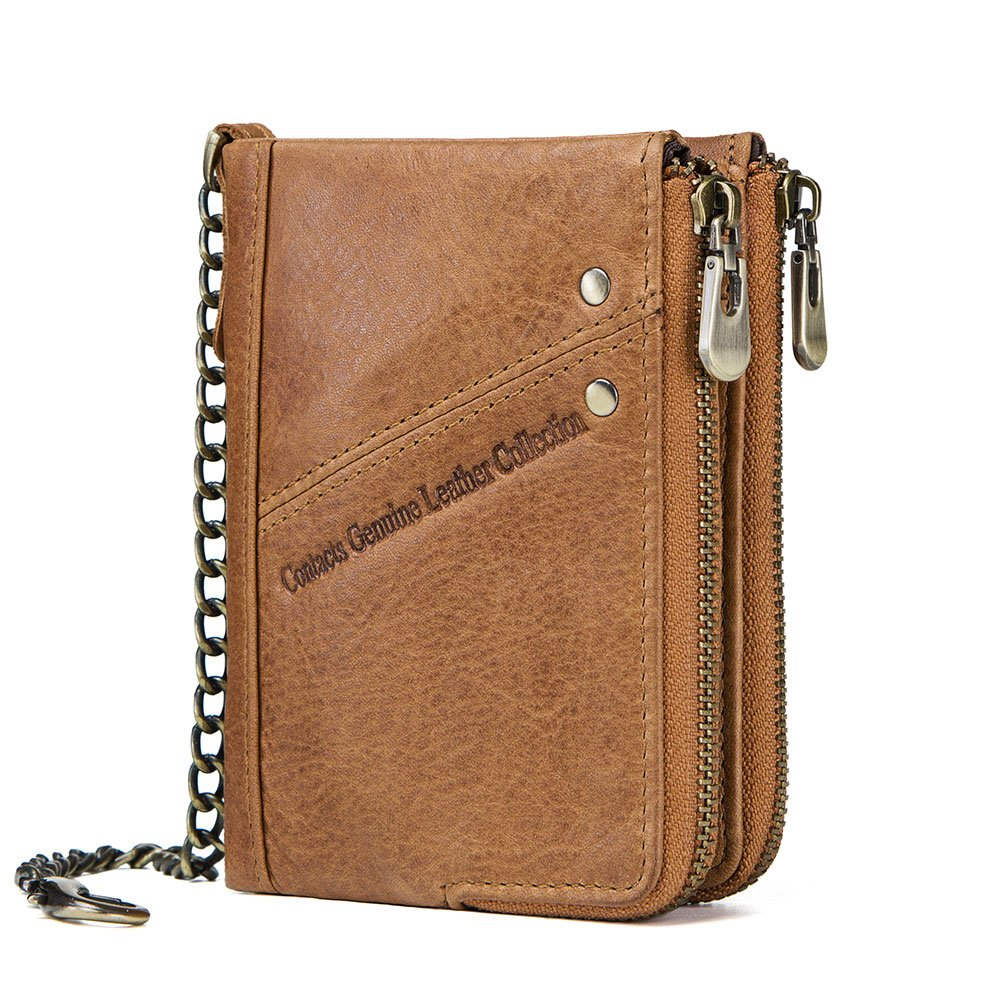 Contacts Mens RFID Blocking Real Leather Bifold Double Zipper Coin Pocket Purse Wallet with Anti-Theft Chain (Brown)