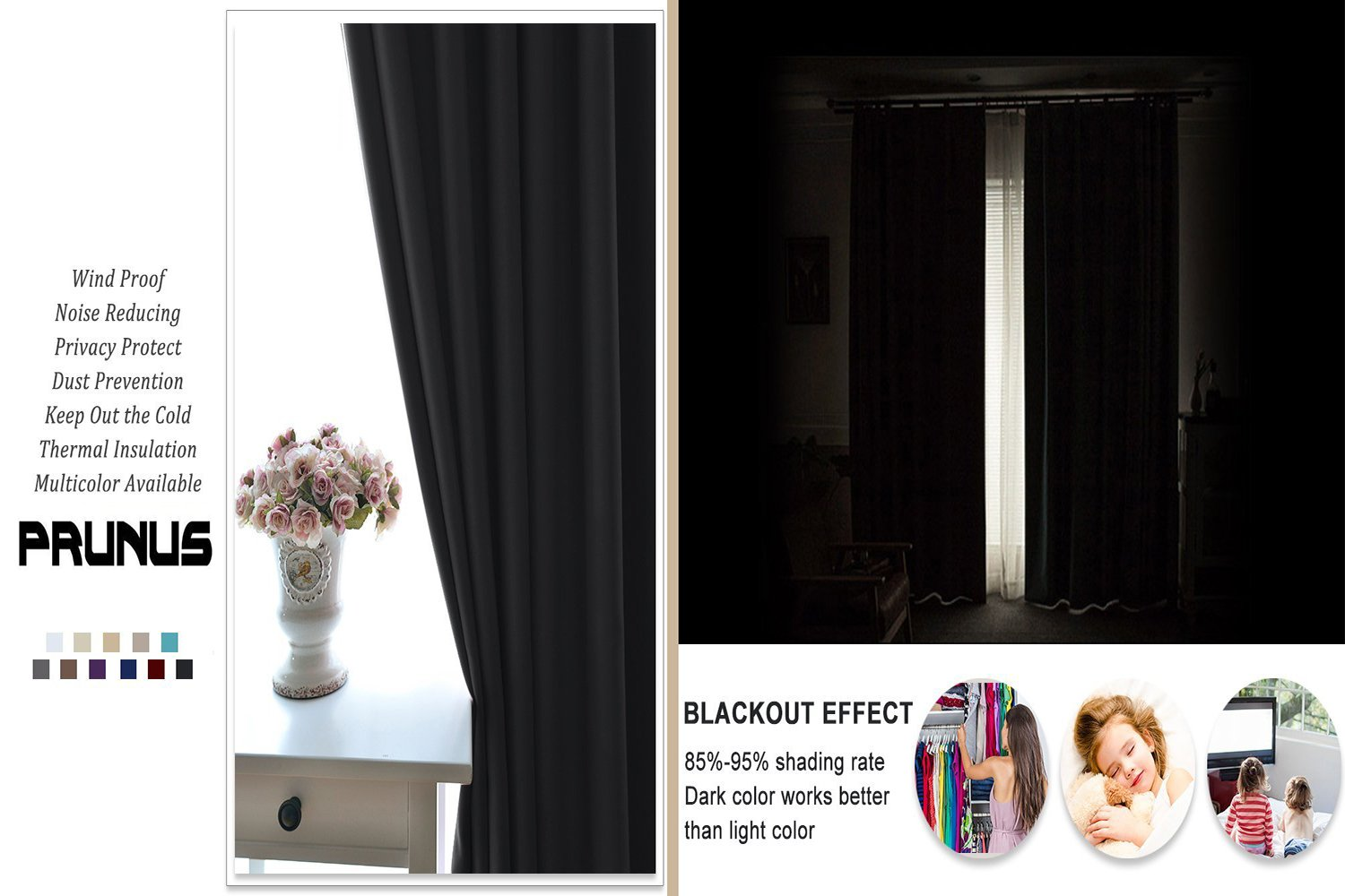 SCOCICI1588 Solid Rod Pocket top Thermal Insulated Window Blackout Curtains Neatly stacked wood for Dining Room W104'' x L63'' Pair by SCOCICI1588 (Image #4)