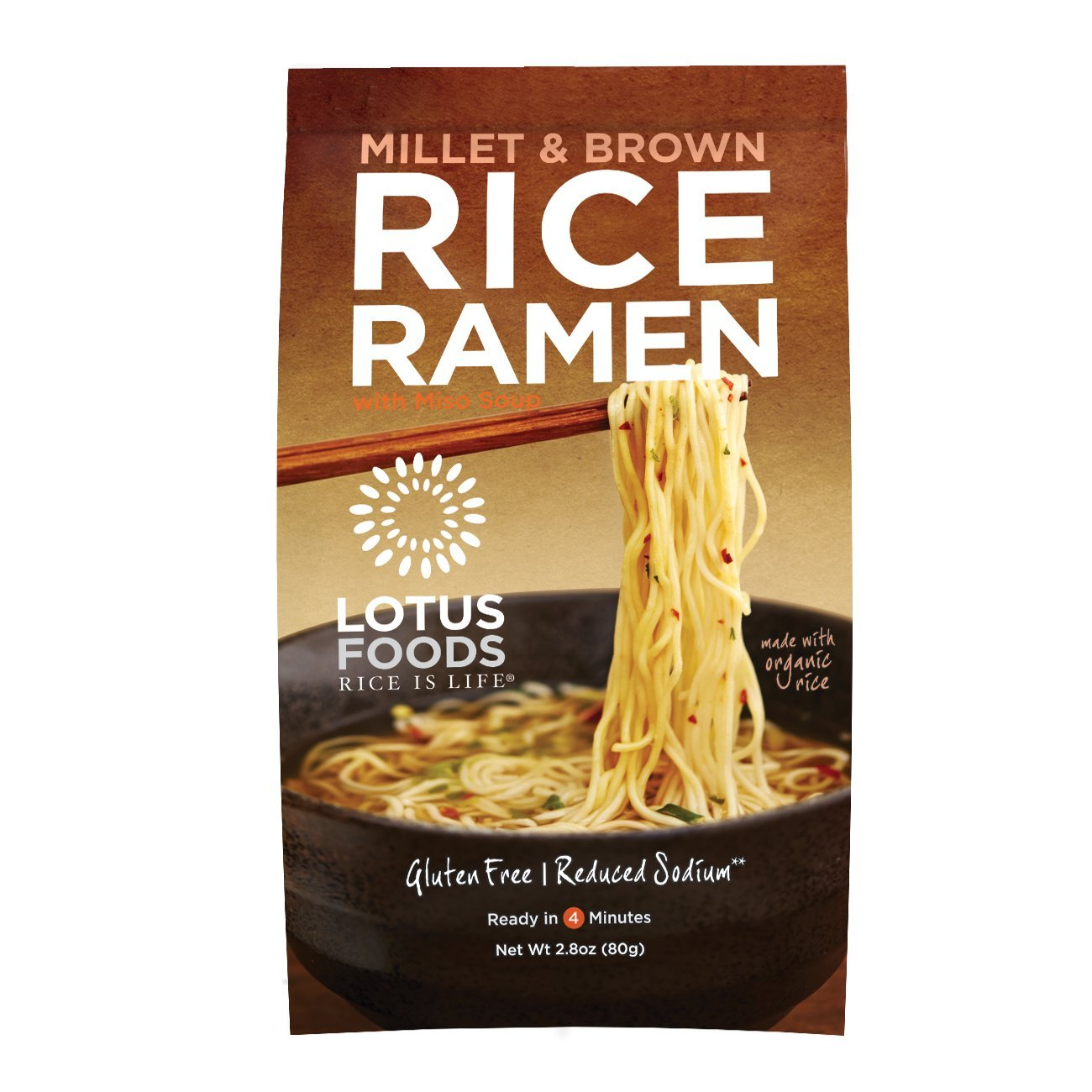 Lotus Foods Millet and Brown Rice Ramen with Miso Soup, Low Sodium, 2.8 oz, 10 Count by Lotus Foods
