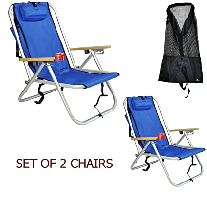 Rio Deluxe Aluminum Backpack Beach Chair/Camping Chair W Storage Pouch W  Tall Mesh Drawstring
