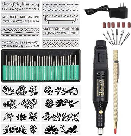 Electric Micro Engraver Pen Mini DIY Vibro Engraving Tool Kit for Metal Glass Ceramic Plastic Wood Jewelry with Scriber Etcher 1pen 16 Stencils Black