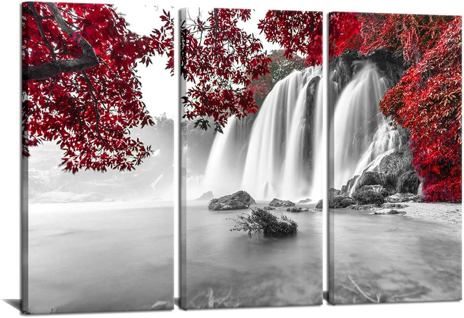 "3 Pieces Red Forest Canvas Wall Painting for Living Room Black and White Waterfall Picture Wall Art Modern Autumn Natural Landscape Photo Home Decor Ready to Hang 16""x32""x 3Panels"