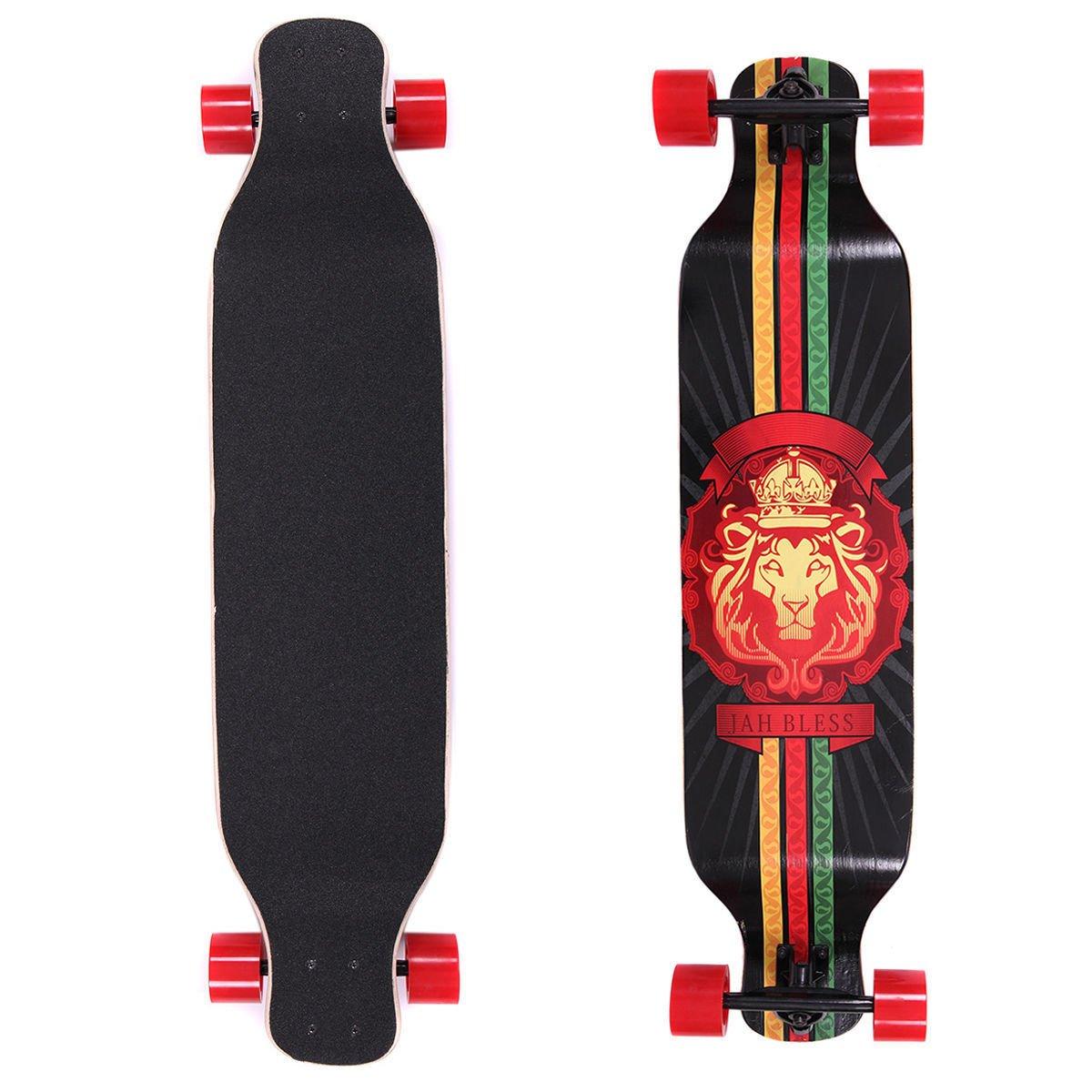 JAXPETY 41 Inch Drop Through Longboard Skateboard Cruiser Through Downhill Complete