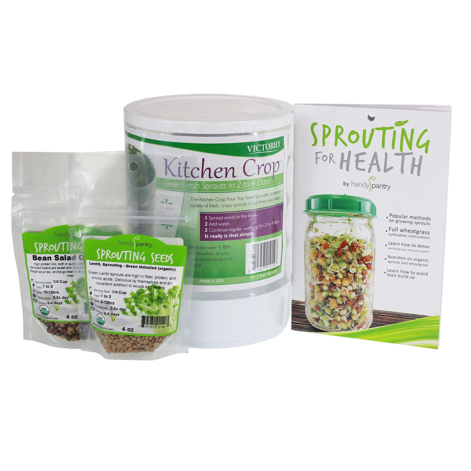 Kitchen Crop Sprouting Kit | Includes Victorio 4 Tray Sprouter, Sprouting Book, Organic Alfalfa, Lentil & Bean Salad Sprout Mix | Makes Over 3 Lbs Of Sprouts by Handy Pantry