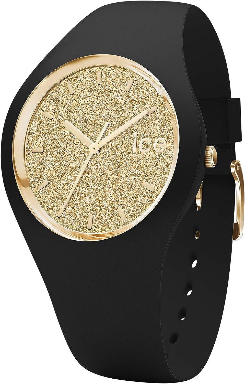 Ice-Watch - Ice Glitter Black Gold - Reloj Negro para Mujer con Correa de Silicone
