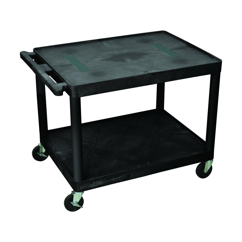 Black Offex Endura 27H Electric A//V Cart with 2 Shelves