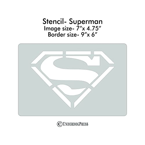Image Size 2x1.4 on 3.5x2 Border Stencil Superman
