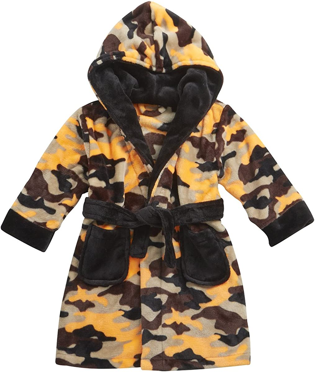 MINIKIDZ Boys Childrens Kids Velvety Soft Bath Robe Dressing Gown Camouflage New