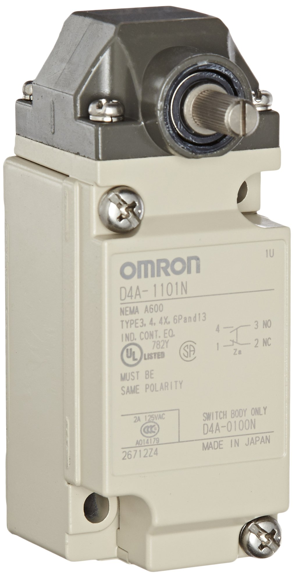 Omron D4A-1101-N General Purpose Limit Switch, Roller Lever, Standard Type, 1/2-14 NPT Conduit Size, Single Pole Double Throw, Double Break
