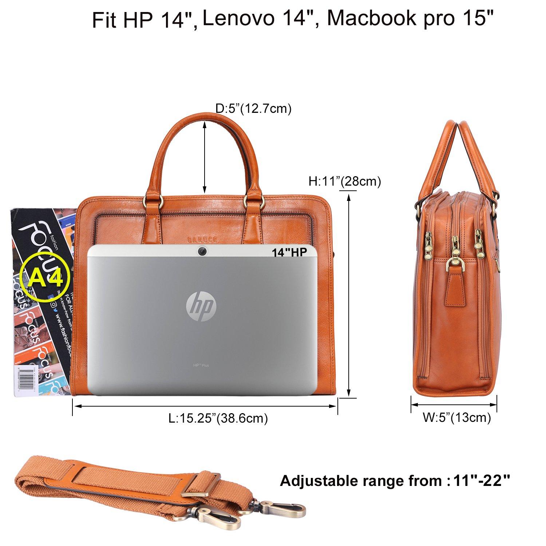 c3fbab4ecf232 Amazon.com  Banuce Womens Full Grains Leather Briefcase Messenger Satchel  Bag 14 Laptop Case  Clothing