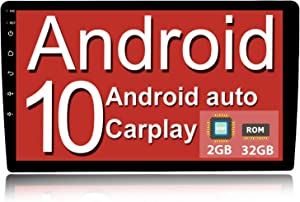 Binize Android 10 Double Din Car Stereo Radio 10 Inch with Apple Carplay/Wired Android Auto,Bluetooth,GPS Navigation,AM,FM,RDS,DSP,Support Backup Camera(10 inch Android 10 +Carplay+Android Auto)