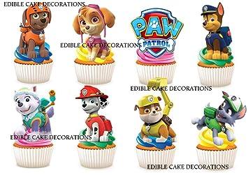 Decoración de papel comestible para cupcakes, 30 unidades, diseño de la Patrulla Canina: Amazon.es: Hogar