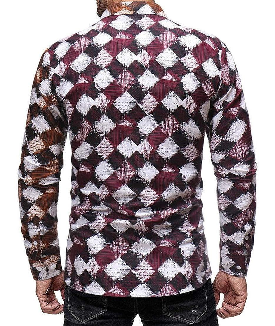 Frieed Mens Buttons Slim-Fit Lapel Plaid Check Pockets Long Sleeve Dress Shirt