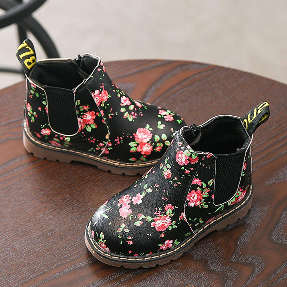 Floral British Style Boots for Kids Winter Warm Lace-up Waterproof Rain Snow Boots by Koolee