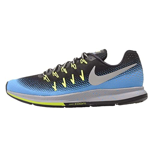 b8e12d5718a Nike AIR Zoom Pegasus 33 Shield Mens Road-Running-Shoes 849564-004 10 -  Black Metallic Silver-Blue Glow-Volt  Buy Online at Low Prices in India -  Amazon.in