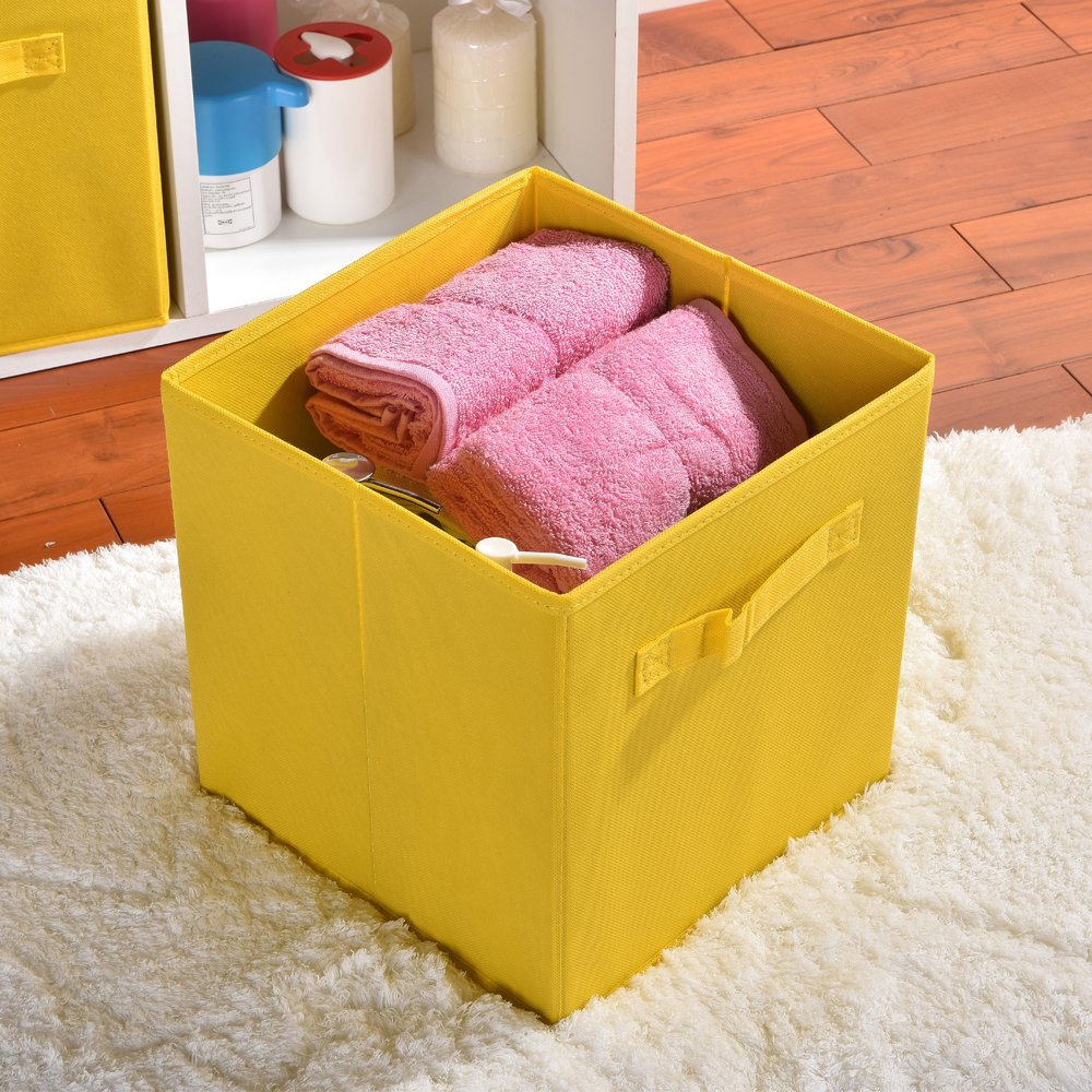 Wtape Practical Foldable Cube Storage Bins, 2-Pack Fabric Drawers, Yellow by Wtape (Image #5)